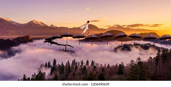 girl in white dress walking above the clouds on sunny day, over umbrellas floating on clouds