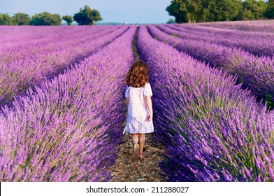 Girl in white dress walking in lavender field