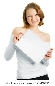 Girl with a white sheet of paper for a slogan