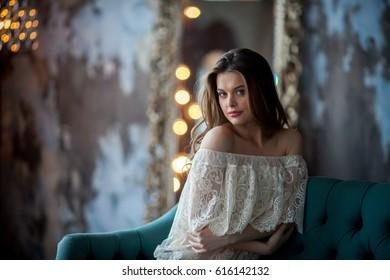 girl in a white Studio