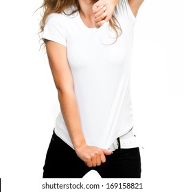 girl in white t-shirt isolated on a white background