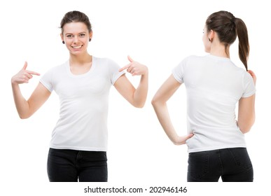 Girl in a white T-shirt isolated on white background, front and back