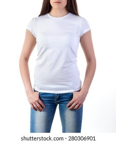 Girl in white t-shirt mock-up isolated on white