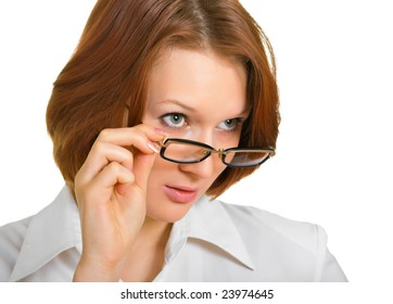a girl who looks forward, over glasses