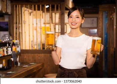A girl who works part-time in a tavern