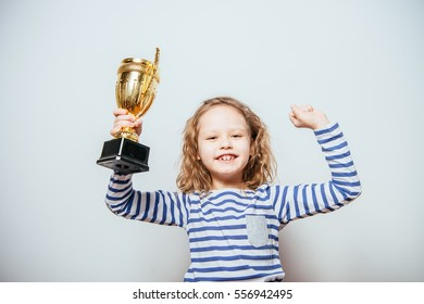 girl with win cup