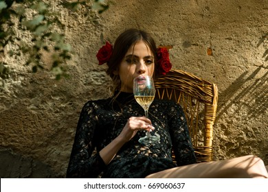 girl with wine.