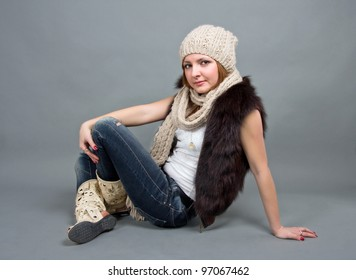 the girl in a winter cap