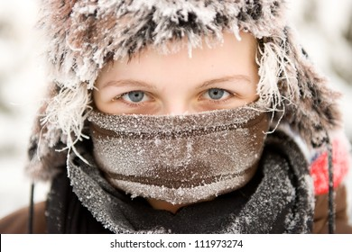 Girl in winter clothing with frozen hair, Sweden