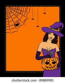 Girl witch with pumpkin in Halloween style.