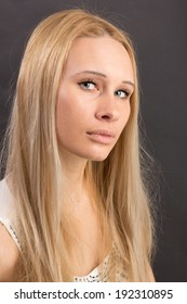 Girl without make-up and cosmetics. Natural skin. Portrait for retouch, school projects.