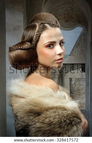 Girl Wolf Skin Hair Middle Ages Stock Photo Edit Now 328617572