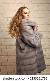 f1aaceb8ae2 Girl or woman with long blond hair wear grey mink fur coat on white brick  wall