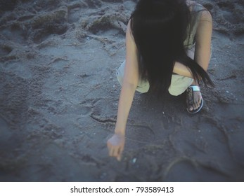 Girl women alone on the sea