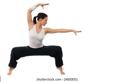 A girl is working out on a white background