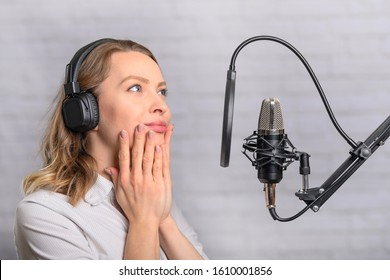 The girl writes a podcast, writes an audiobook, an announcer. The sound of films, cartoons. Blogging and reading text into a microphone