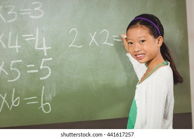 Girl writing with chalk on blackboard at school
