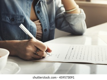 Girl Writing Letter Home Concept