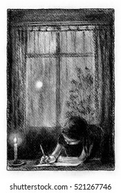 Girl writing the letter Little girl is writing a letter at the desk, night in the window behind.