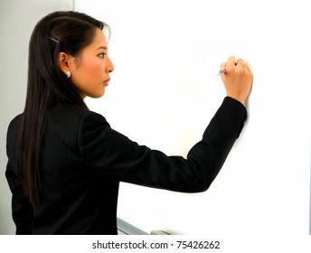 Girl writing Whiteboard