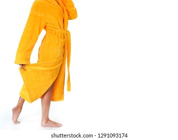 Girl in a yellow bathrobe