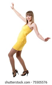 Girl in yellow dress isolated on white background