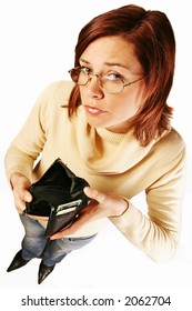 girl, young woman  with empty wallet- having financial problems