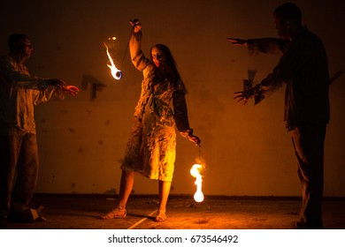 Girl zombie and fire show