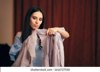 Girlfriend Having Jealousy Crisis Cutting Male Shirts. Angry wife seeking revenge for infidelity and lies