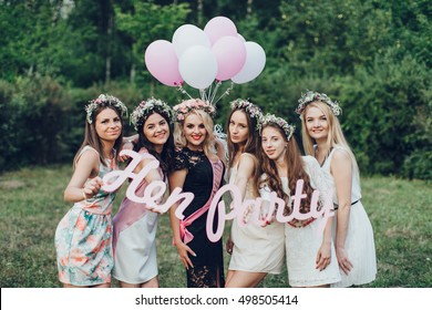 Girlfriends and bride celebrate hen party before the wedding.