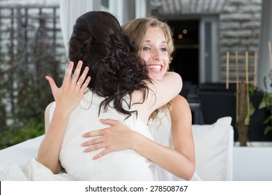Girlfriends celebrate engagement.