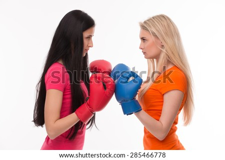 girlfriends ready have battle girls red stock photo edit now