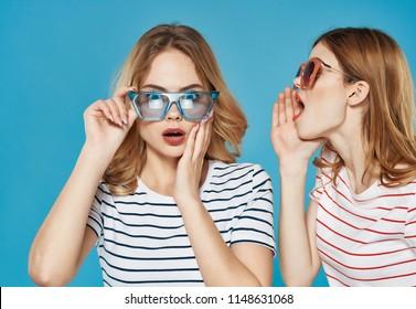 girlfriends women in glasses gossip whisper emotions