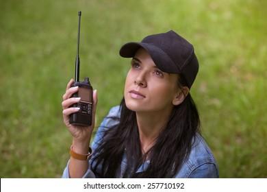 Girl/Ham radio/outdoor