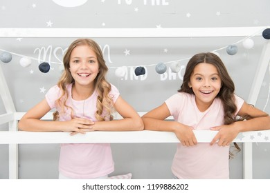 Girls best friends sleepover domestic party. Girlish leisure. Sleepover time for fun gossip story. Best friends forever. Soulmates girls having fun bedroom interior. Childhood friendship concept.