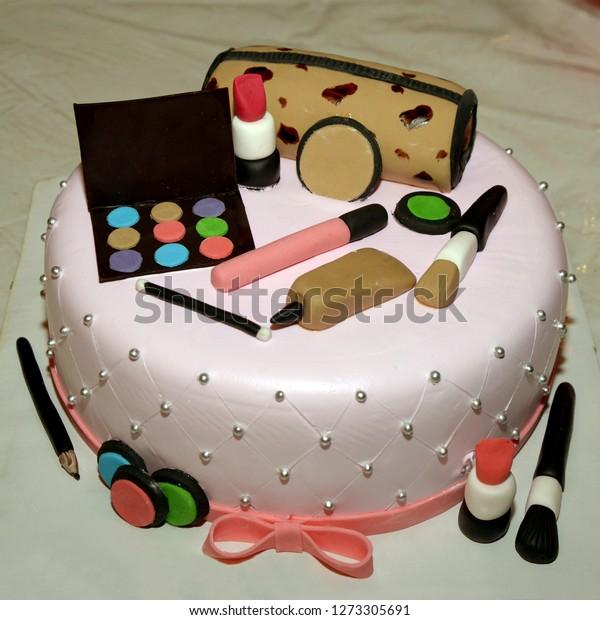 Girls Birthday Cake Makeup Box Other Stock Photo (Edit Now