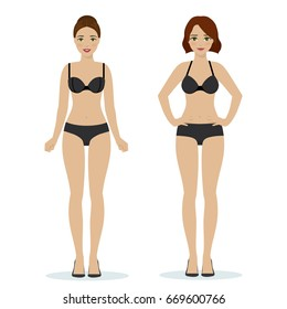 Girls in black underwear, black bras and panties, colorful flat illustration of women underwear.