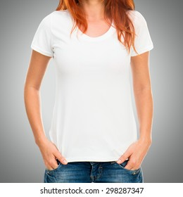 Girl's body in white t-shirt template on gray background