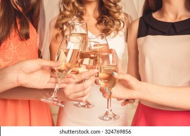 girls celebrating a bachelorette party of bride