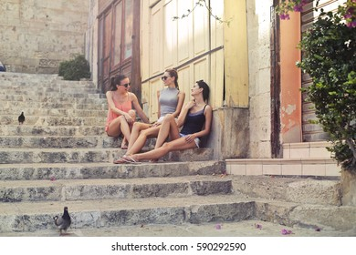 Girls chatting in the street
