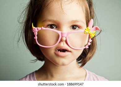 Girls in children's glasses