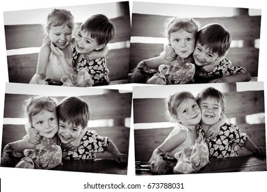 The girl's collage with the boy. Monochrome. Concept of friendship