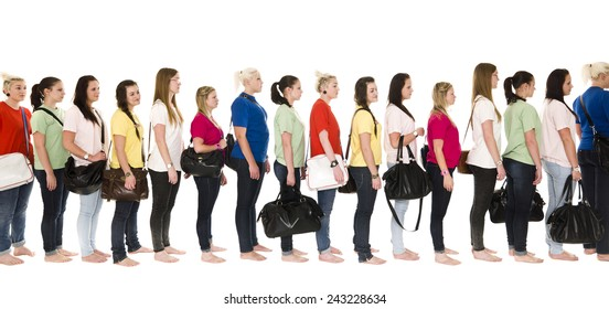 Girls in colorfull t-shirts in a line on white background