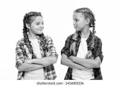 Girls cool confident sisters with folded arms. Friendship support and trust. Sisterhood goals. Sisters together isolated white background. Sisterly relationship. Sisterhood is unconditional love.