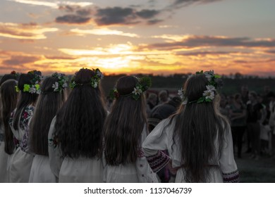 Girls in a dance, Slavic traditions, the feast of Ivan Kupala