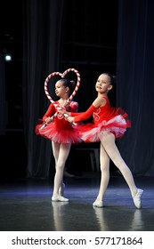 """Girls dancing ballet - a variation of """"Sugar Plum Fairy"""" as a Christmas elf with candy. Choreographic Festival, Tomsk, Russia, 2016"""