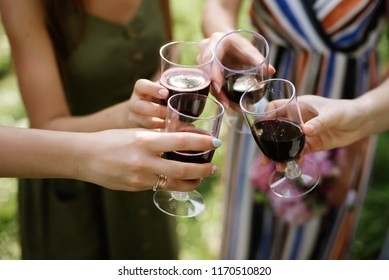 Girls Drink red wine enjoy to party outdoor on green background, Business People Party Celebration Success Concept