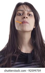 Girl's eating lollypop