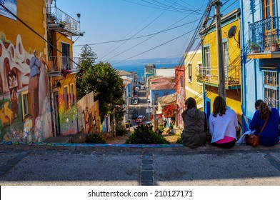 Girls enjoying the streets of Valparaiso, Chile.