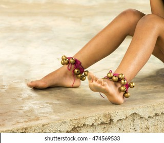 Girls Feet Dancing In Ghunghuru Traditional Indian Musical Instruments